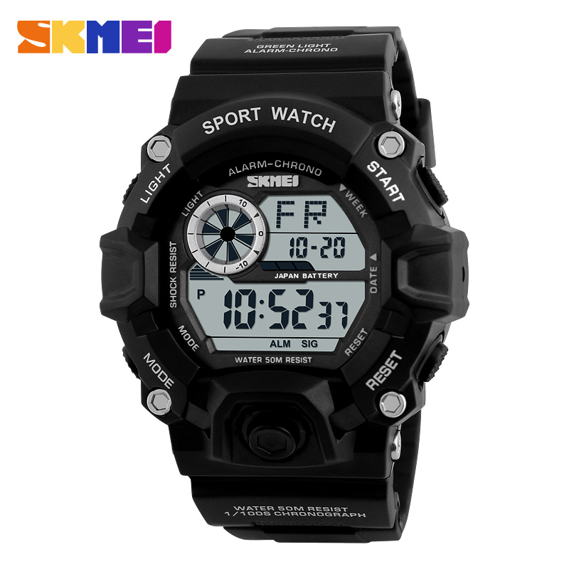<font><b>SKMEI</b></font> <font><b>1019</b></font> New Style Digital Watch Men military army Watch water resistant Calendar LED Sports Shock Watches relogio masculino image