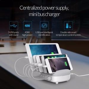 Image 5 - Orico estação de carregamento 5 portas 5v 2.4a 40w desktop telefone inteligente tablet carregador com suporte para iphone 11 pro samsung xiaomi