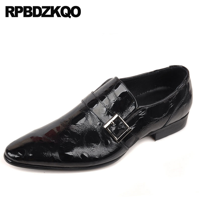 6f6fafbac3e1 Patent Leather Genuine Pointed Toe Pointy Real Luxury Men Dress Shoes With  Buckled Black Italian Prom Monk Strap British Style