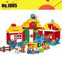 123pcs Diy Compatible With legoing Duploe Big Size Happy Farm Zoo Animals Hobbies Blocks Set Bricks Toys For Children Brinquedos