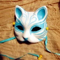 Half Face Hand-Painted Japanese Style Fox Mask Kitsune Blue Pattern Cosplay Masquerade for Party Halloween