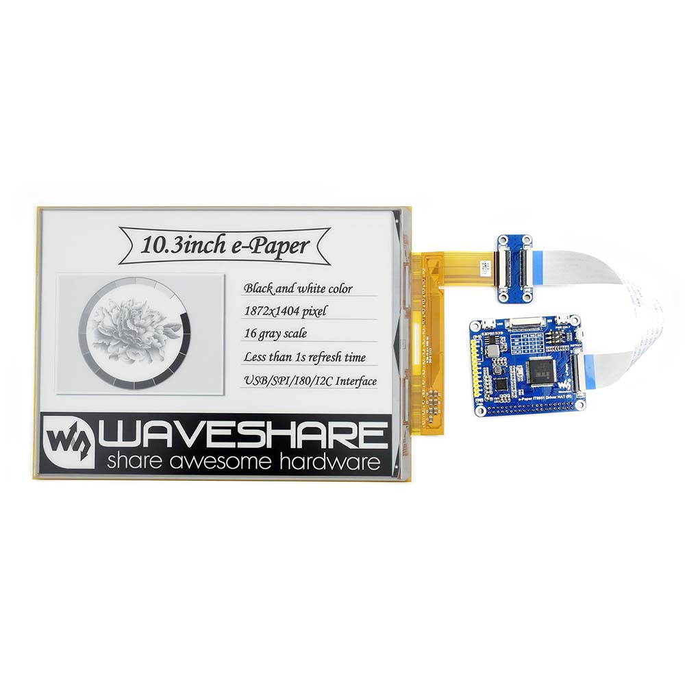 Waveshare 10.3 polegada CHAPÉU flexível E-display De Tinta para Raspberry Pi, IT8951 controlador, resolução 1872*1404, suporta atualização parcial