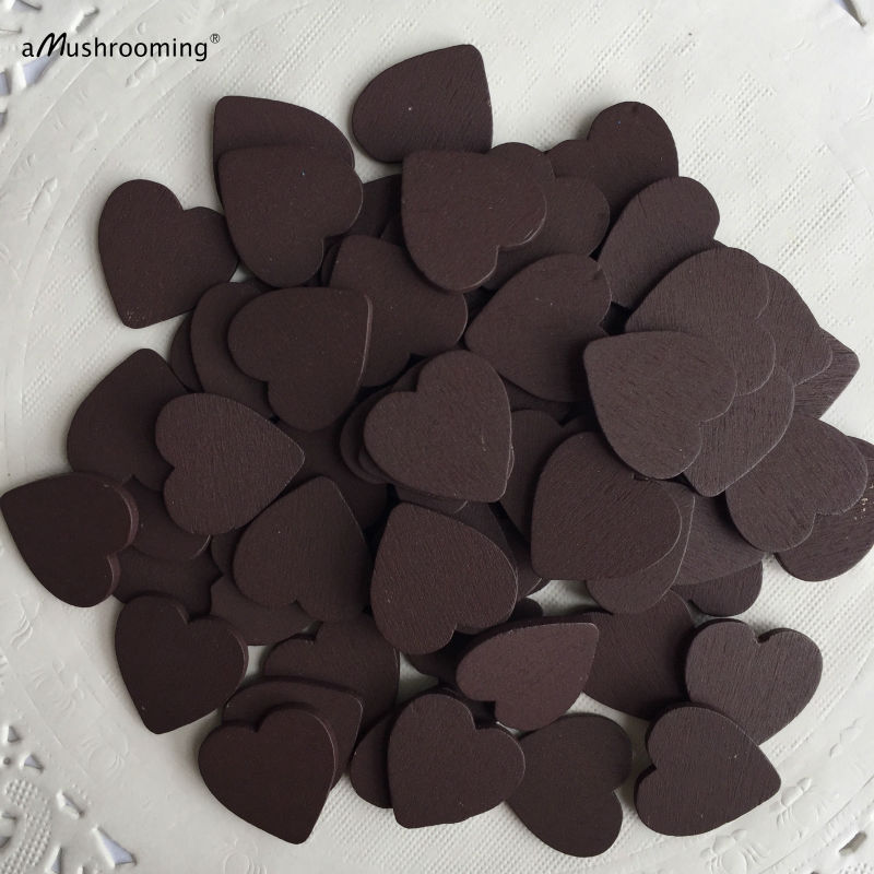 Chocolate 50pcs unfinished wooden wood heart shape pieces for Unfinished wood pieces for crafts