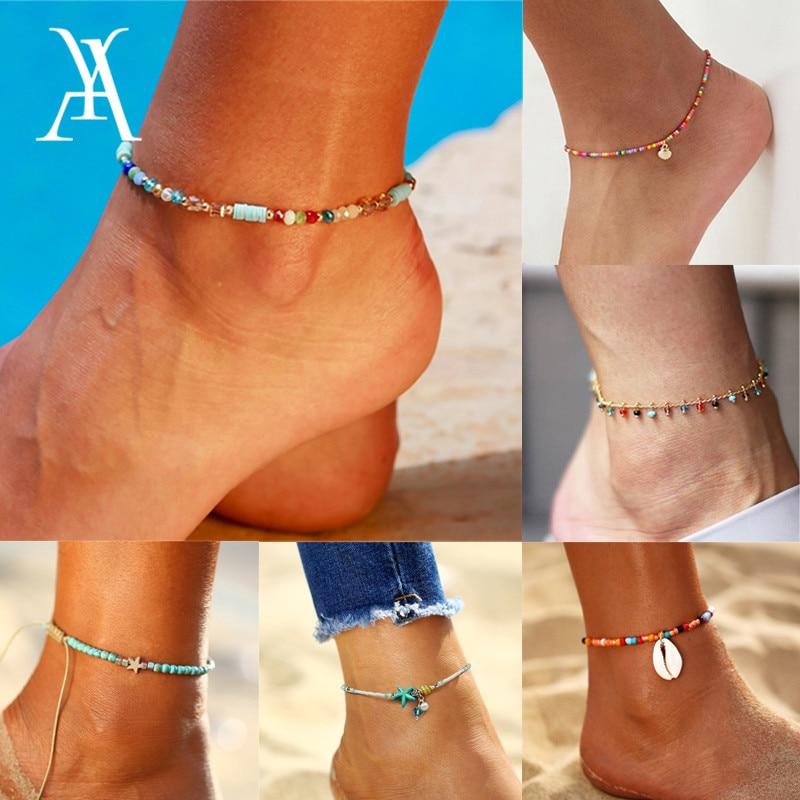 Fashion Colorful Glass Seed Beads Anklets for Women Boho Ocean Beach Shell Ankle Bracelet Leg Bracelet Ocean Beach Foot Jewelry