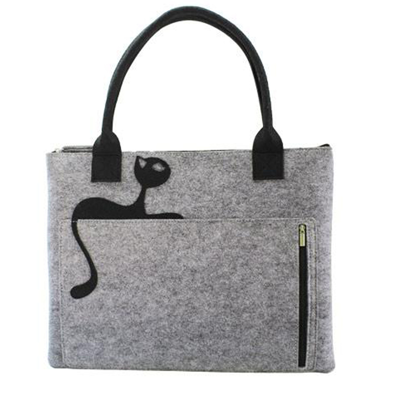 13 inch Felt Laptop Tote Bag with Cat Women Handbag Carrying Briefcase Satchel Bag Sleeve Case for 13.3-inch MacBook Ai C010