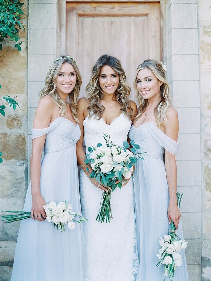 Beautiful Country Bridesmaid Dresses Cheap Off Shoulder Floor Long Pleats Chiffon Wedding Guest Light Blue Bridesmaids Dress In From