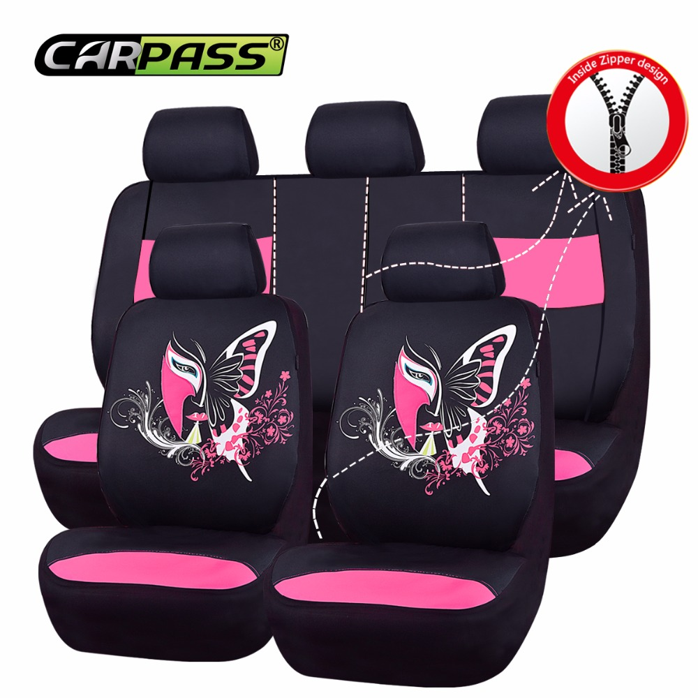 Car-Pass Universal Car Seat Cover 11Pcs Seat-Covers Front Seat Back Mesh fabric Cute Pink Seat Covers For BMW