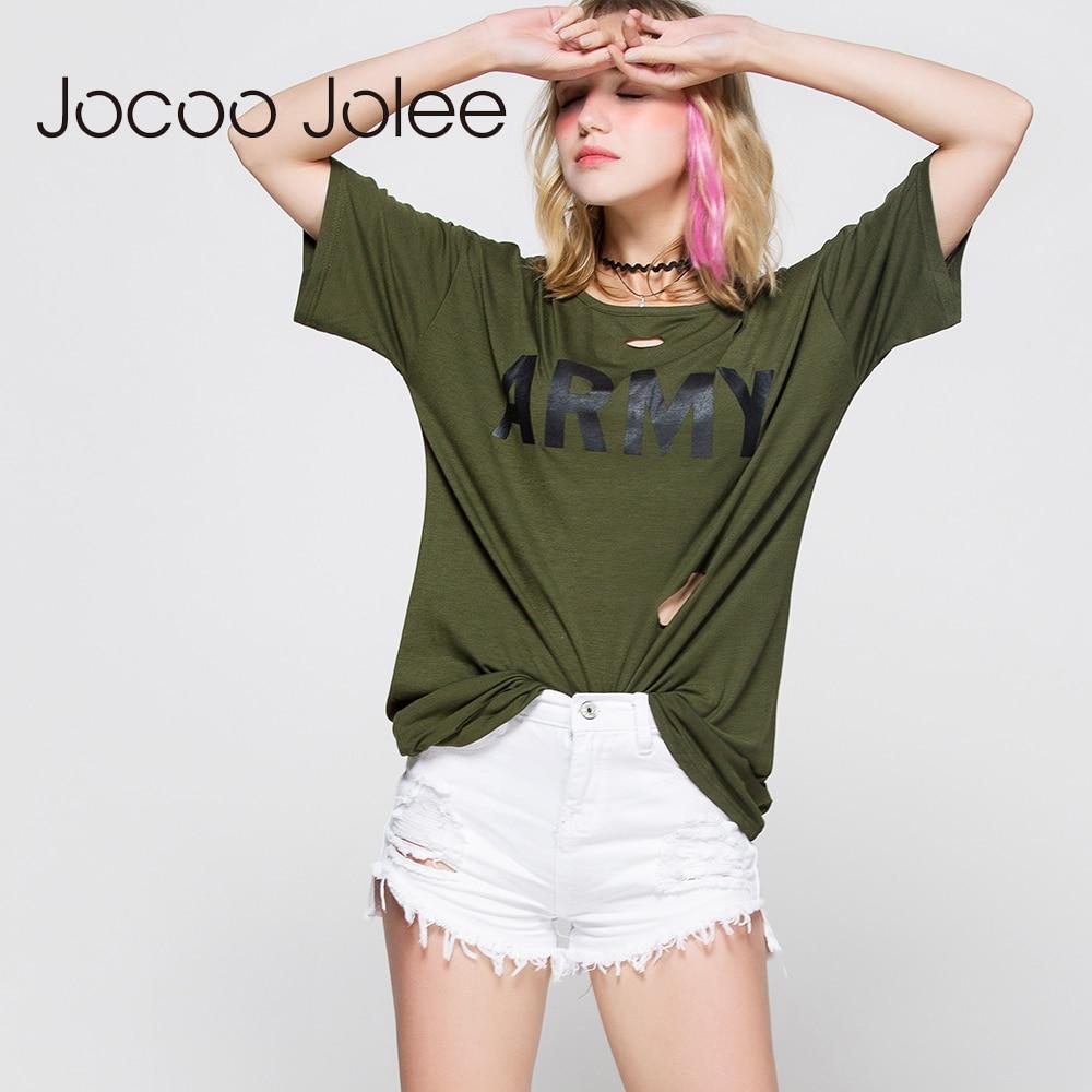 Bluza Jocoo Jolee Solide Pierced Hole Letra e Modës për Gra të shkurtra të modës, Këmisha të shkurtra verore Rastesishme të lirshme Bluza për Dizajn të gjatë