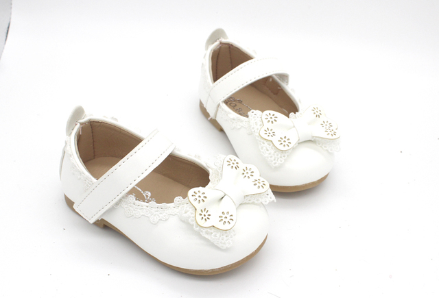 White Pink Baby Toddler Little Girl Bow Party And Wedding Dress Shoes For Girls Leather Shoes New 2018 Years 1 2 3 4 5 6 7 Years
