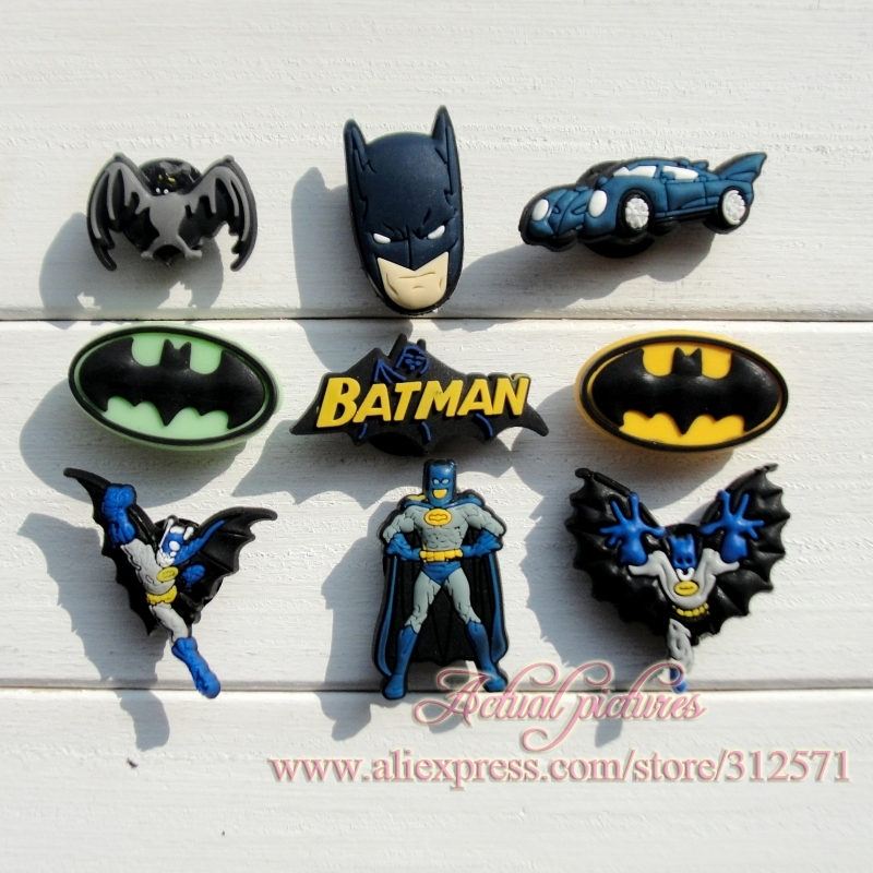 Free Shipping,100pcs/lot  Batman soft pvc shoes charms,shoe button,clog Decoration,Hot Film,Cool man ,party favor ,birthday gift 50pcs lot 6x6x7mm 4pin g92 tactile tact push button micro switch direct self reset dip top copper free shipping russia