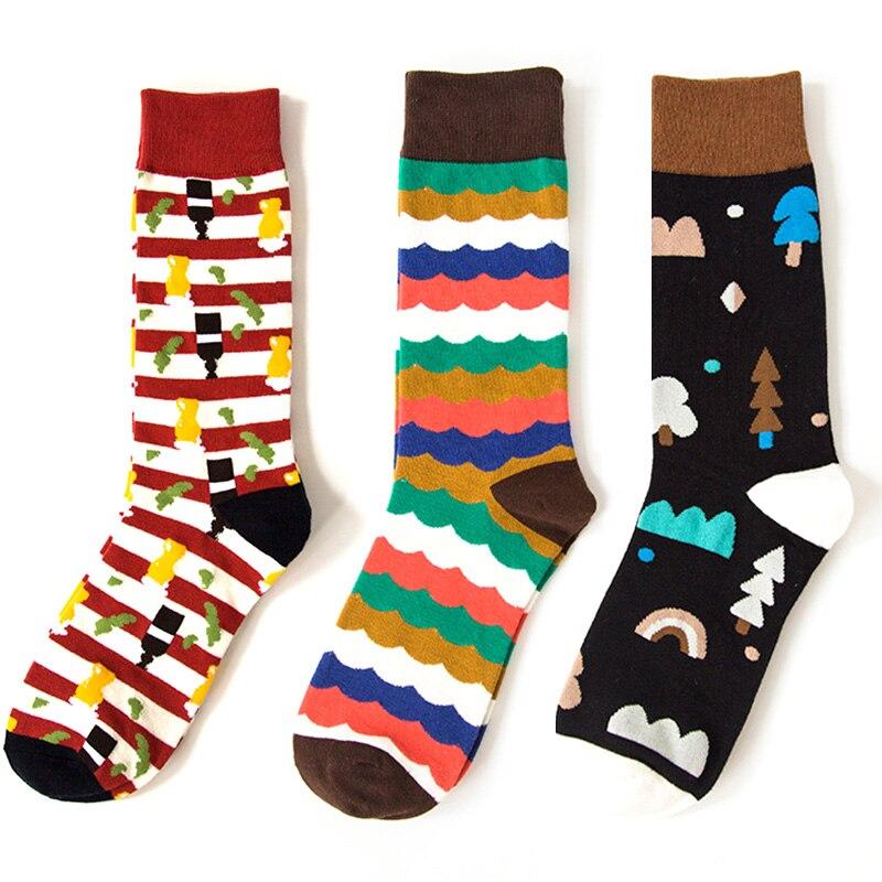 LNRRABC Multicolor Striped   Socks   Male Dot Cotton Print Art Jacquard Long Casual Business   Socks   Men Clothing Accessories