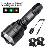 Original Brand Portable Flashlight UF C8 With XPE LED Bulb Tactical Zoomable 3 Modes +Barrel Mount+Tail Switch