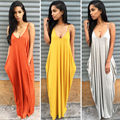 Случайные Свободные Макси Платья 2016 Новая Мода Слинг Белый Orange V Шеи Карман Большие Качели Темперамент Лето Спинки Длинное Платье