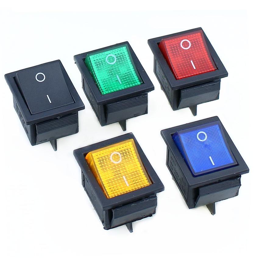 KCD4 1 шт. с подсветкой большой ВКЛ-ВЫКЛ 4-контактный кулисный переключатель-красные, синие зеленый желтый 20A 125VAC 16A 250VAC