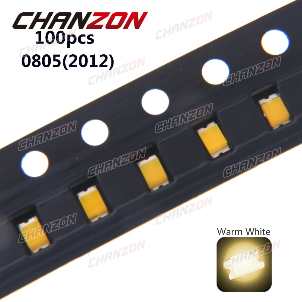 100pcs 0805 (2012) <font><b>SMD</b></font> Warm White Ultra Bright Surface Mount <font><b>LED</b></font> Chip Light Emitting Diode Lamp SMT Bead Electronics Components image