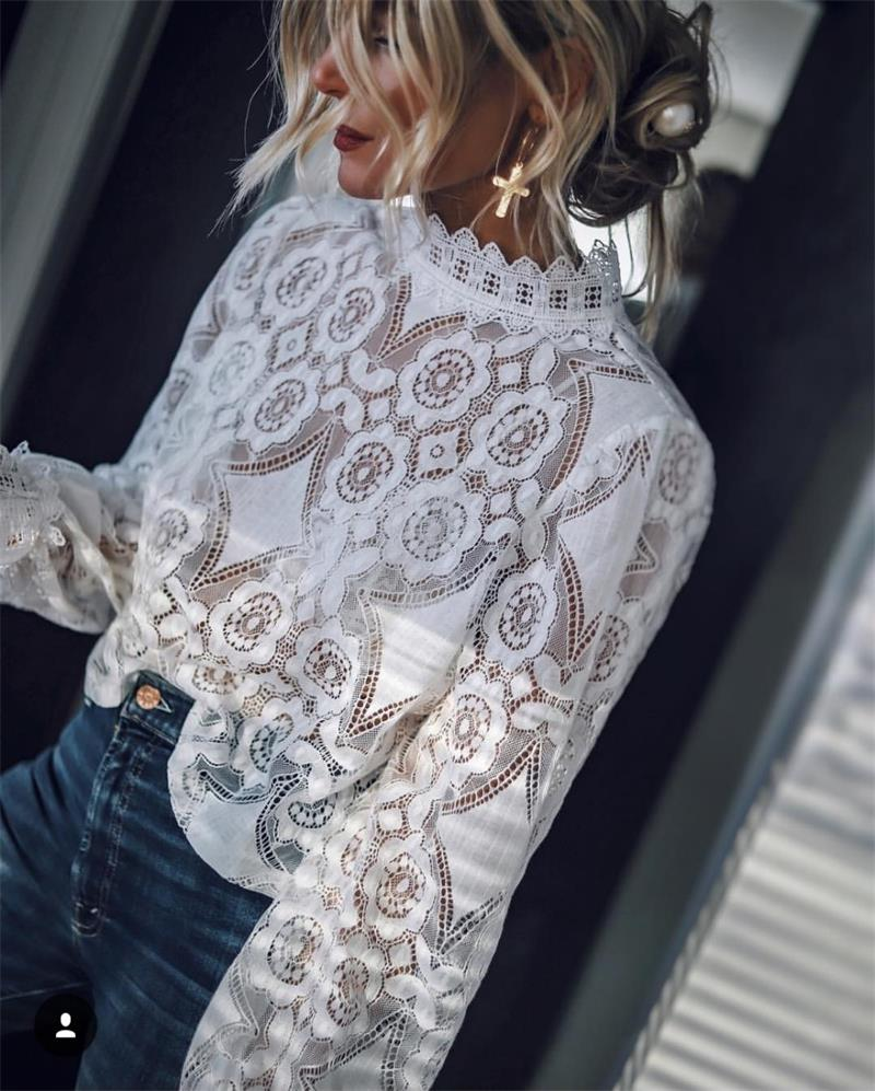 White Lace   Blouse     Shirt   Sexy Hollow Out Embroidery Lantern Sleeve Feminine   Blouse   Women Summer Cotton Top Female