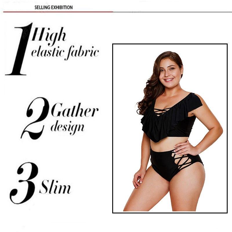 90456f8388 New Plus Size Swimwear 3XL Black Frill Tankini Crisscross High Waist ...