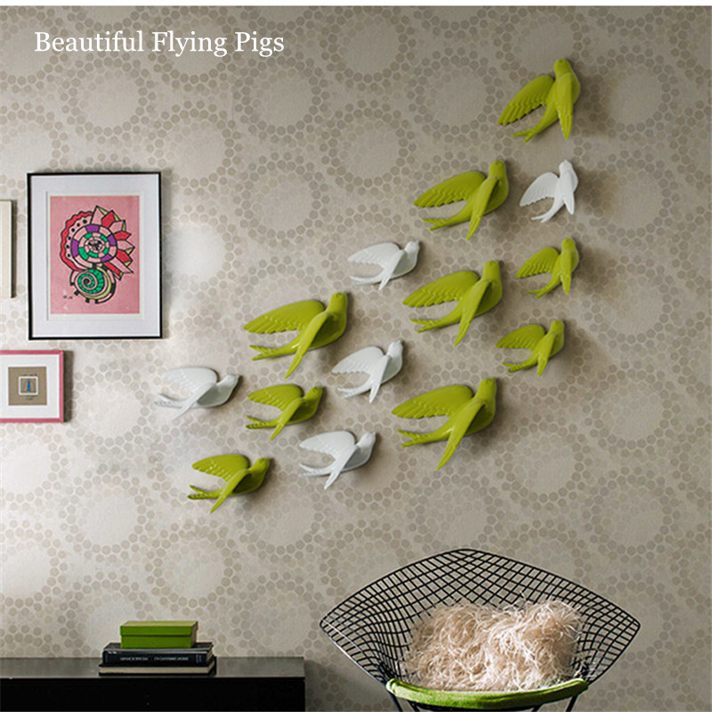Home decoration American swallow wall hanging crafts creative bird pendant TV background wall decoration wall stickers