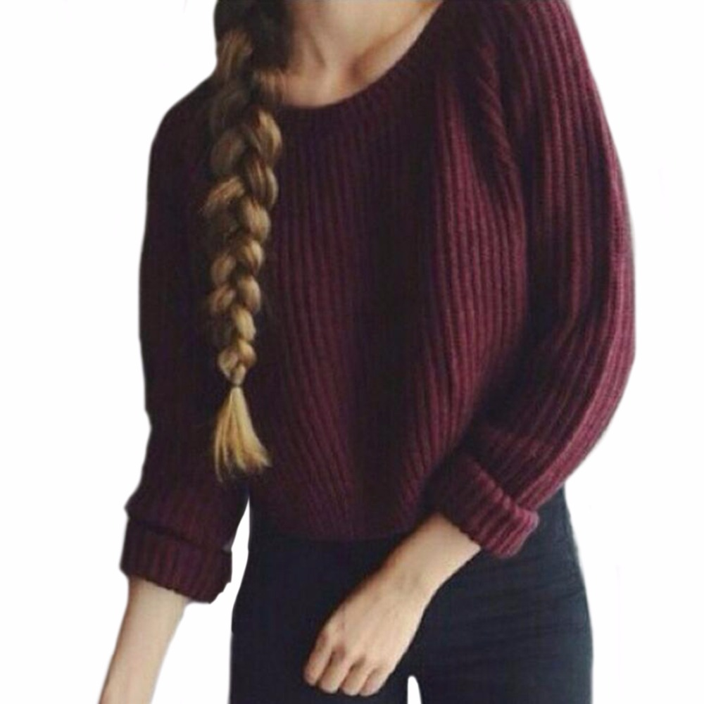 Autumn Winter Fashion Pullover Burgundy Knitted Women Sweater Full ...