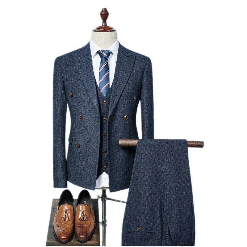 (Jacket + Vest + Pants) 2018 doppio petto Degli Uomini Vestiti di Modo degli uomini di lana Slim Fit business Suit wedding uomini Wedding suit size S-3XL