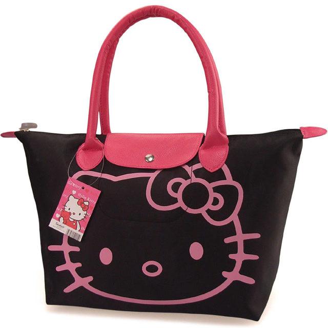 2016 Hot Sale Cartoon Handbag Hello kitty Waterproof Shopping bag Women's Hand bag Woman Girls Casual Purse Oxford Foldable bags