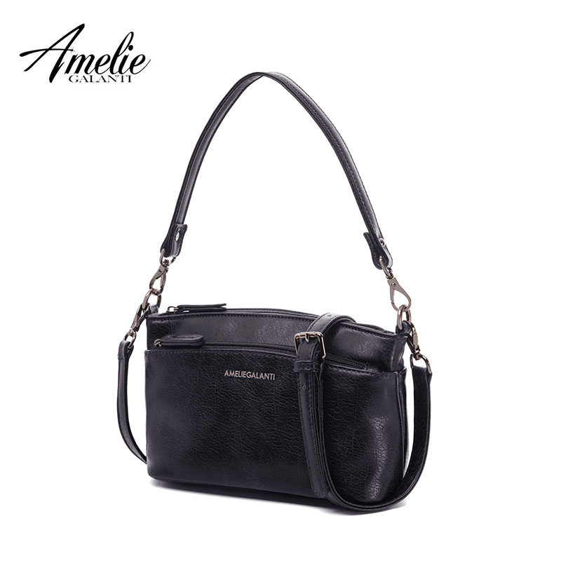 AMELIE GALANTI small crossbody bag for women multi zipper pocket with shoulder strap soft PU Leather lady purse