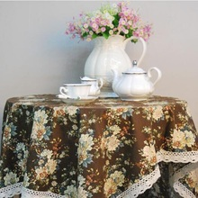 WINSTBROK High Quality Linen Tablecloth Pastoral Style Table Cloth Wedding Party Decoration Tables Lace Edge