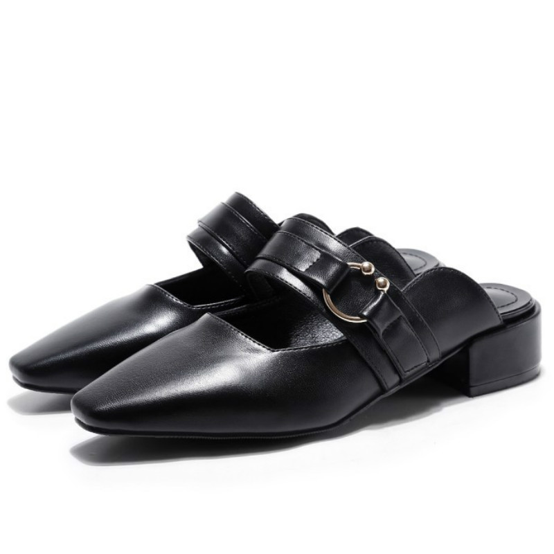 ФОТО top brand design cow genuine leather slides shoes women 2017 black white square toes covered heels fashion ladies summer shoes