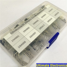 10Values x20 200pcs Rectifier Diode Schottky Assortment Electronic kit 1N4001~1N4007 1N5817 1N5818 1N5819 With storage Box