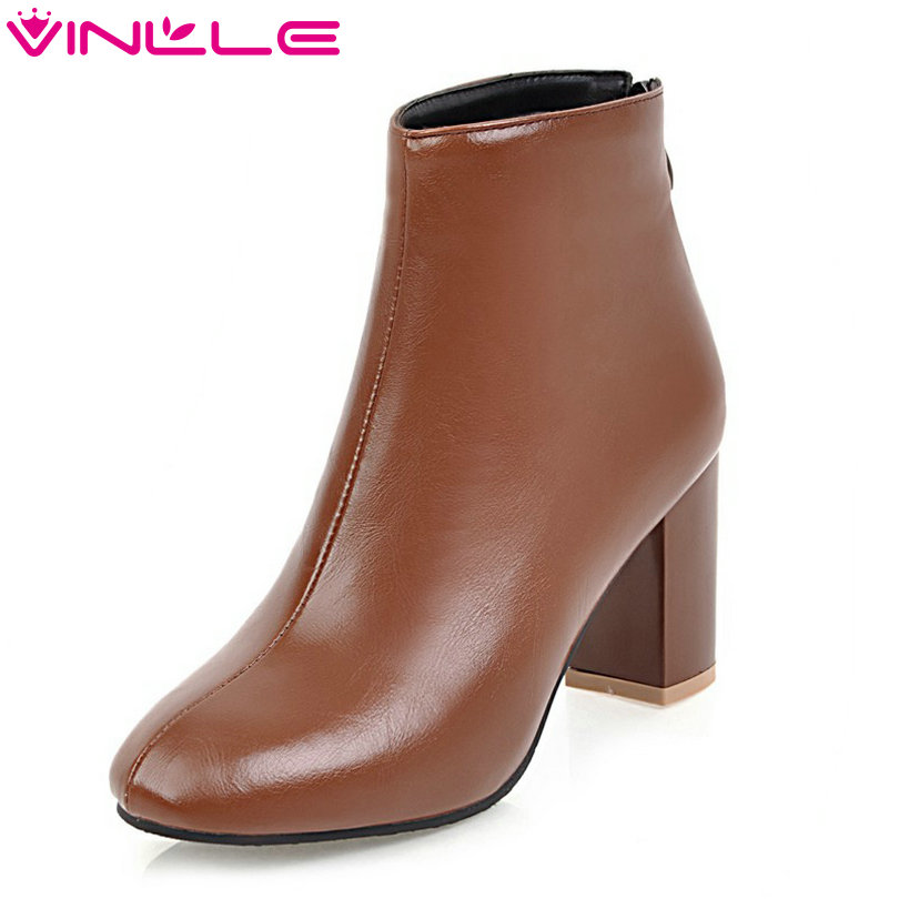 VINLLE 2018 Women Boots Shoes Ankle Boots Square High Heel Pointed Toe PU leather Simple Ladies Motorcycle Shoes Size 34-43 vinlle 2018 women boots shoes ankle boots square high heel round toe slip on beige ladies motorcycle shoes size 34 43