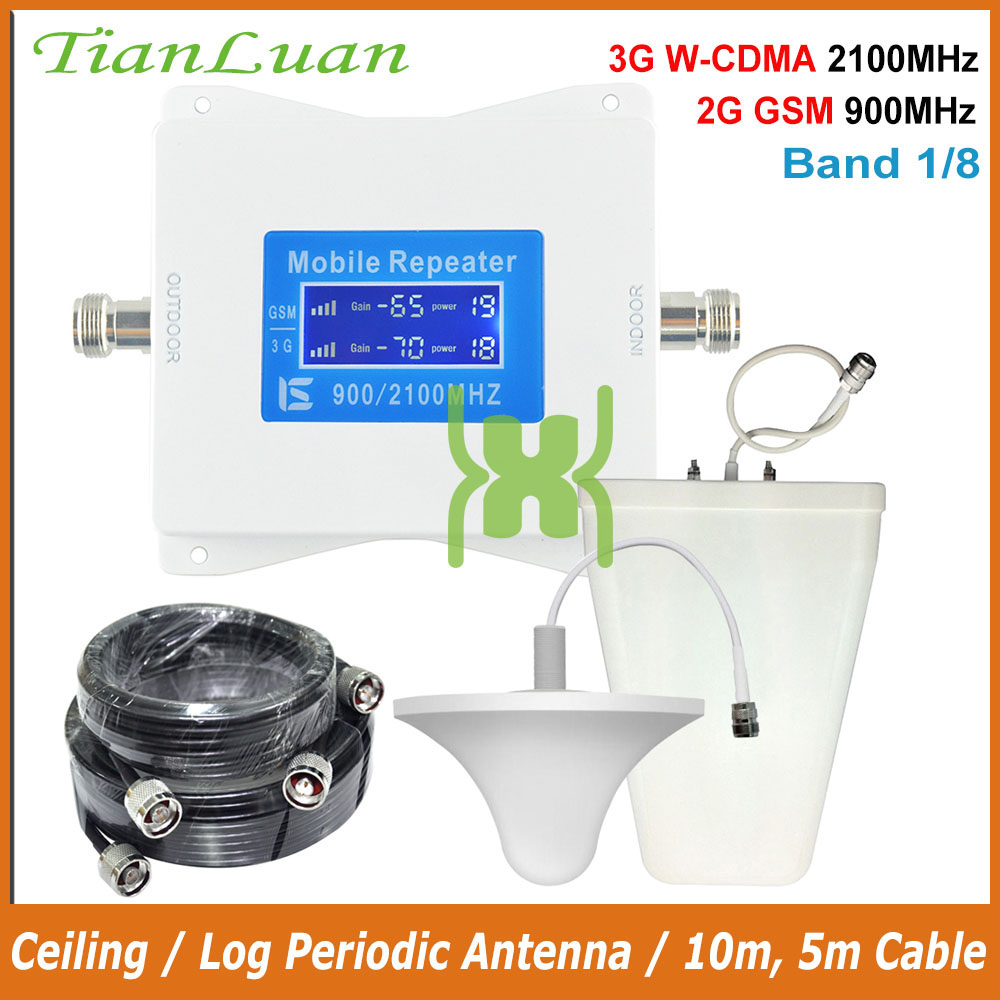 TianLuan 3G WCDMA 2100MHz GSM 900MHz Dual Band Mobile Phone Cellular Signal Booster GSM 900 2100 UMTS Signal Repeater Amplifier