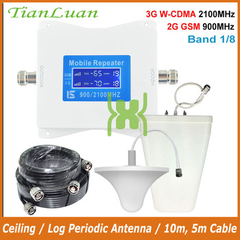 TianLuan Mobile Phone Signal Booster 2G 3G GSM 900MHz W-CDMA 2100MHz UMTS Cellular Signal Repeater Amplifier Band 1, 8