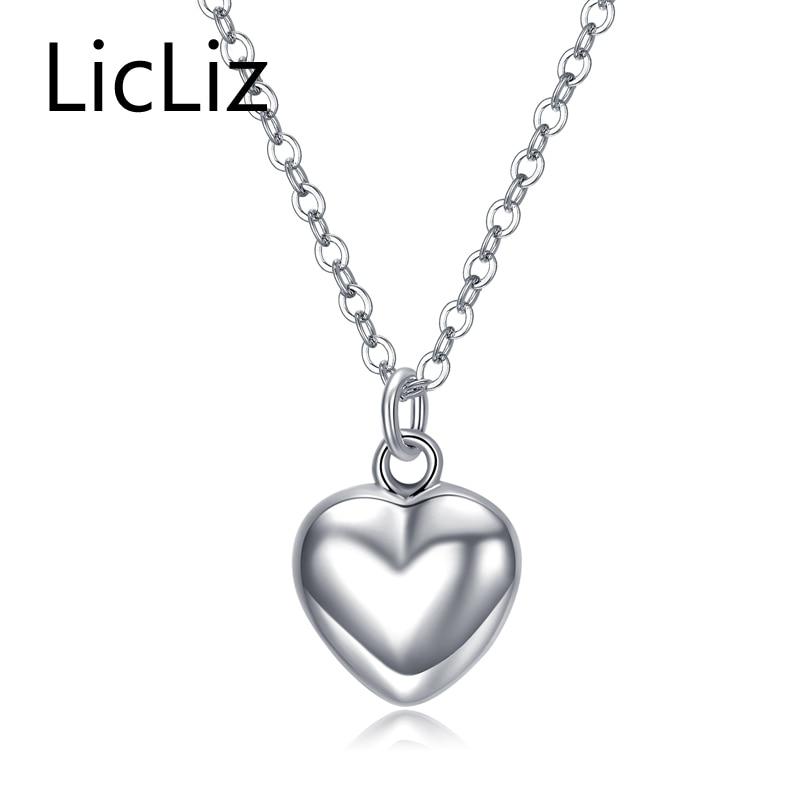 LicLiz Trendy 925 Sterling Silver Mirror Poljsko Srce Privjesak Ogrlica Dugi link Lančić Vintage Vjenčanje Nakit za žene LN0190
