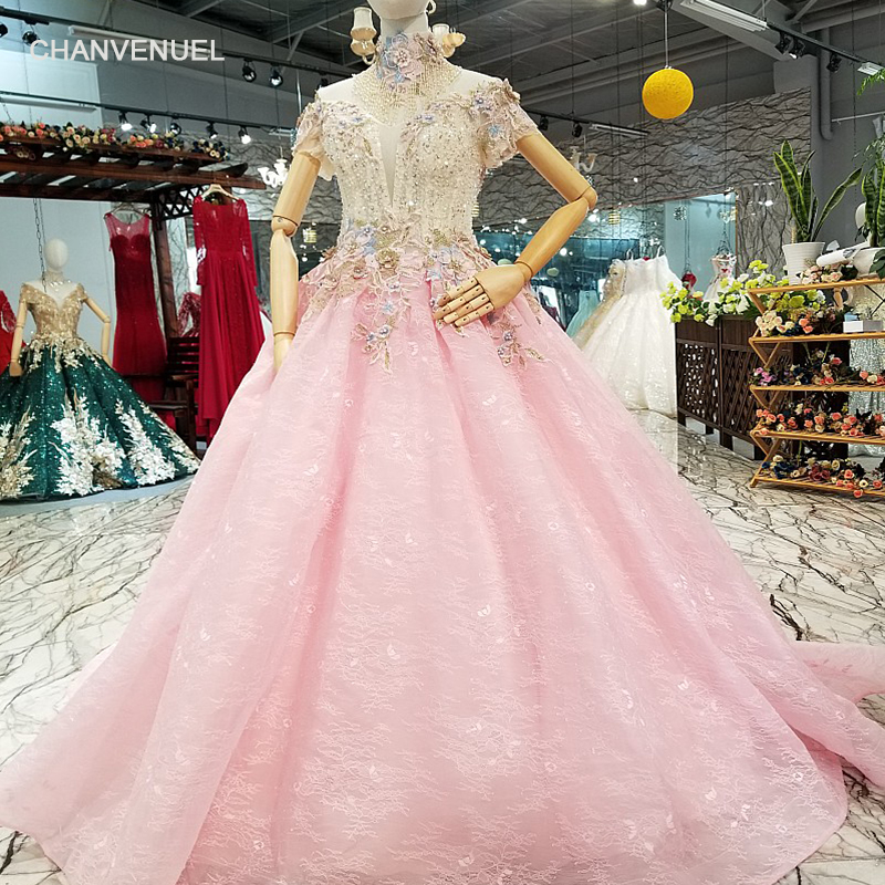 LS014410 cheap pink gown girls mesh flower party dress with crystal collar chain off shoulder sweetheart women occasion dresses
