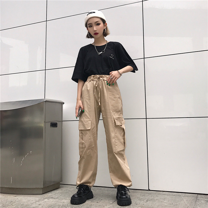 US $17.04 9% OFF|hip hop vintage solid New fashion korean hipster Women's  Clothing ulzzang personality Big pocket loose high harajuku cargo pants-in  ...