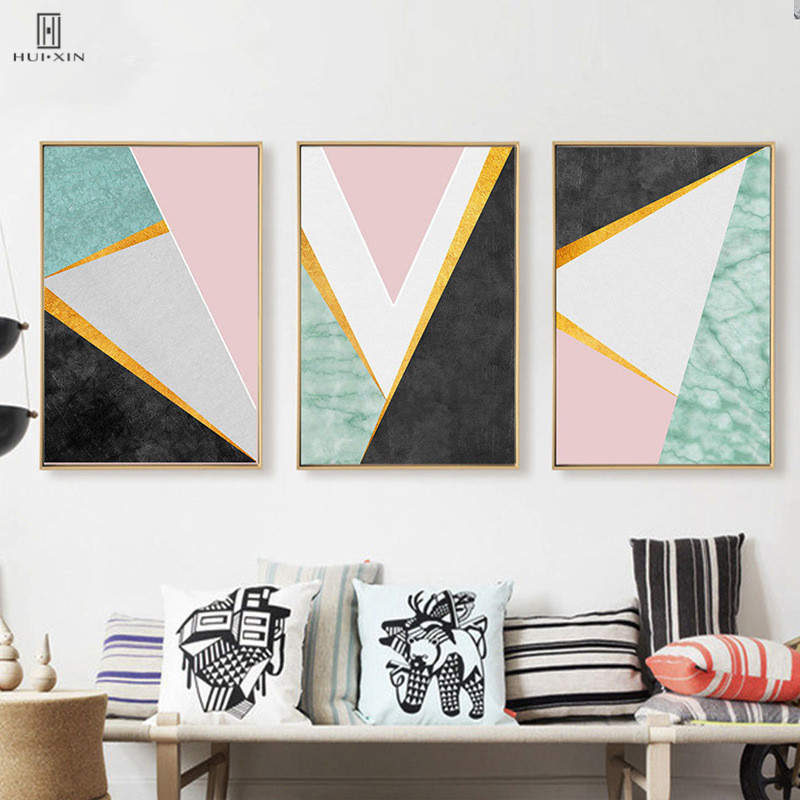 Us 4 89 40 Off Canvas Posters Abstract Geometry Yellow Black White Triangles Lines Mixed Wall Art Painting Unframed For Home Living Room Decor In