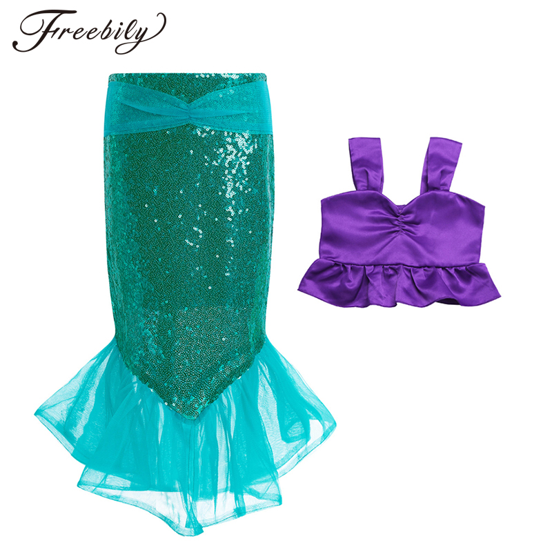 2PCS Kids Girls Shinny Sequins Mermaid Tails Party Costume Outfits Top+Skirt Swimming Dress for Children's Summer Clothing