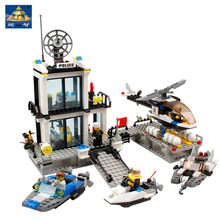 KAZI 6726 Police Station Building Blocks Helicopter Boat Model Bricks Toy Kids Educational Assembled Playmobil Toys Withlego