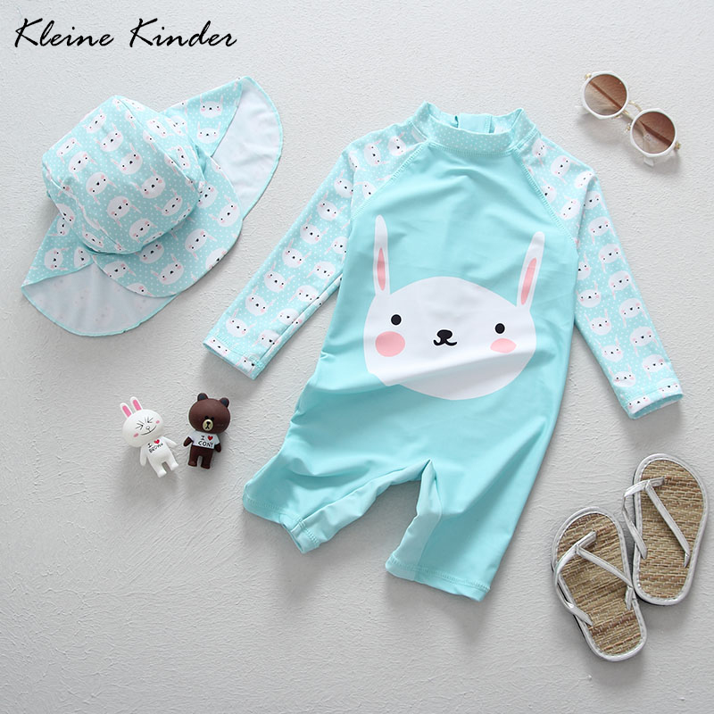Baby Swimwear Long Sleeve One Pieces Coveralls Cartoon Rabbit Blue Little Girls Swimsuits Bathing Suit Infant Babies Beach Wear