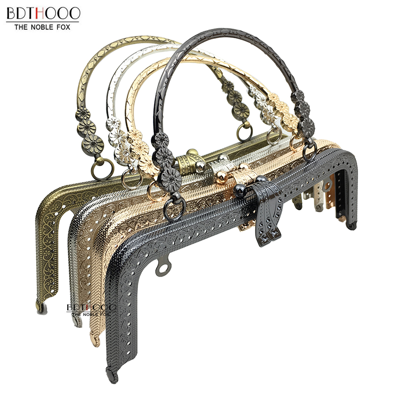 BDTHOOO 3pcs 20cm Metal Purse Frame Handle Clutch Bag Accessories DIY Kiss Clasp Lock Bronze Embossing M-shaped HandBag Hardware
