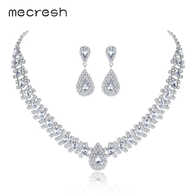 Mecresh Crystal Teardrop Wedding Jewelry Sets Rhinetone Choker Necklace and Earrings Bridal Jewelry Sets for Women TL001