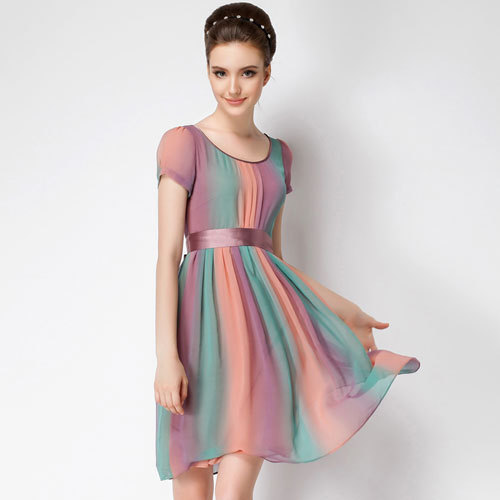 79fa793f71 High quality 2016 new temperament short Sleeve rainbow color chiffon party dress  women plus size long casual dresses 6015