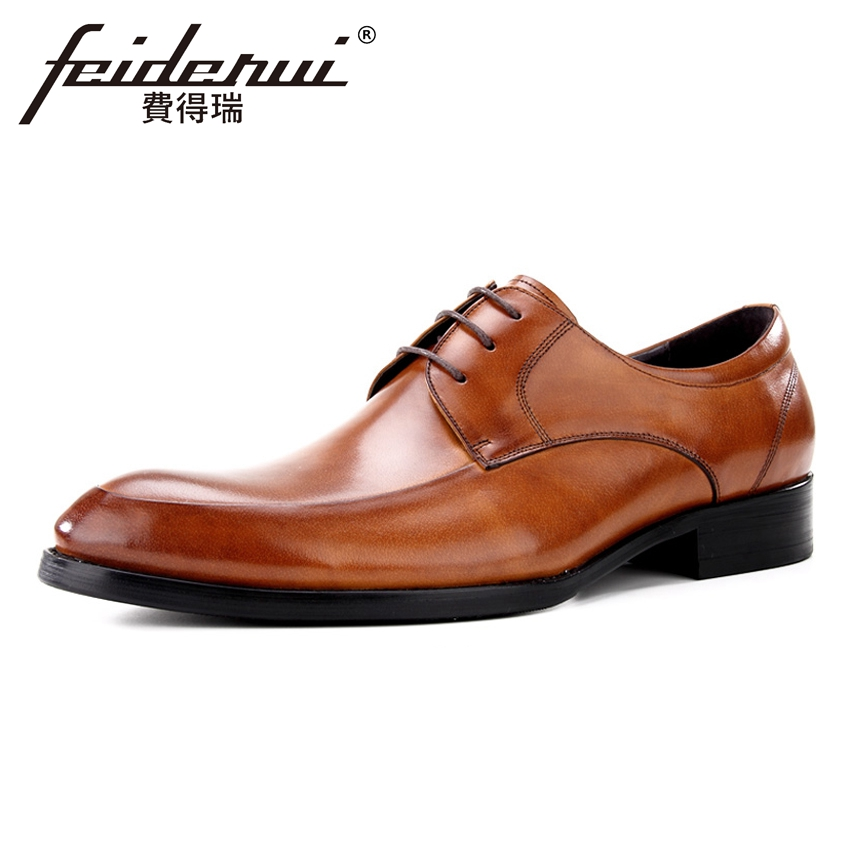 Classic Genuine Leather Men's Footwear Round Toe Lace-up Man Wedding Party Flats Formal Dress Designer Male Derby Shoes BQL66 new arrival men casual business wedding formal dress genuine leather shoes pointed toe lace up derby shoe gentleman zapatos male