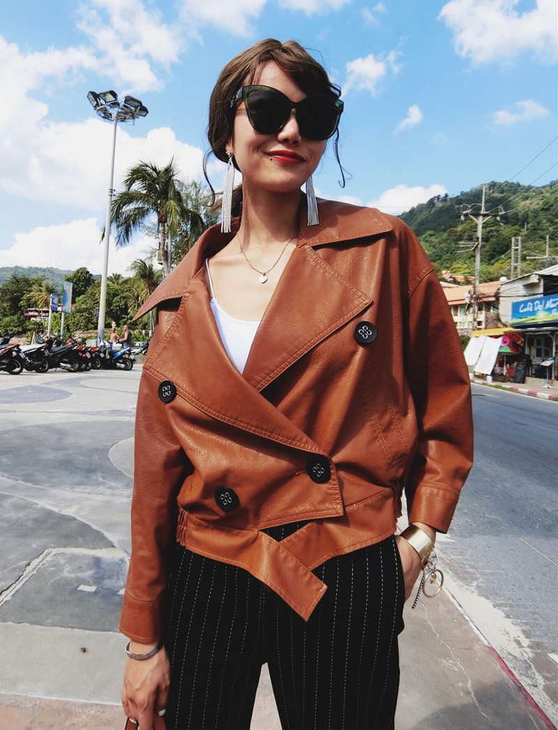 SWYIVY blouson moto PU femme, vêtement d'extérieur ample à la mode, Design court, pour moto, 2018