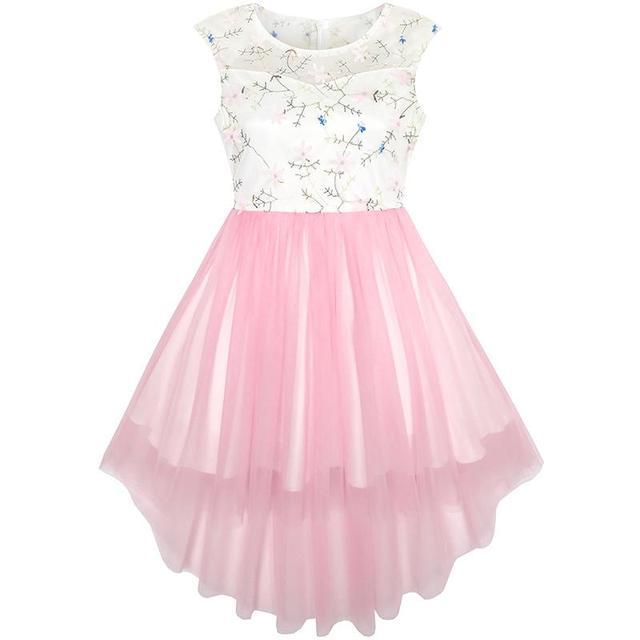 841a3ad080bb Sunny Fashion Vestiti Bambina Fiore Rosa Pizzo ricamato Nozze damigella  d onore