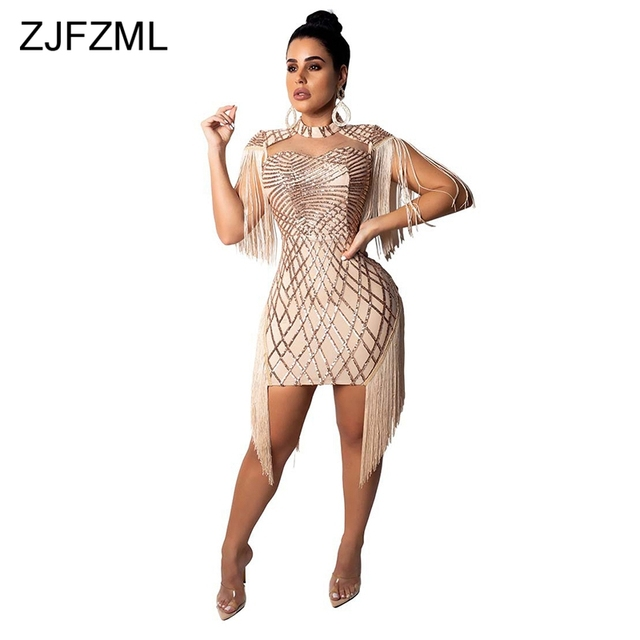 Tassels Cap Sleeve Sexy Bandage Dresses Women Shiny Geometric Sequined  Birthday Party Dress Autumn Hollow Out Slim Fit Vestidos 7b2cd1cfb9ea