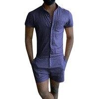 Summer Style Unique Romper Men Linen Shirt Short Sets Single Breasted Jumpsuit Fashion Overalls Tracksuit Casual Cargo Pants