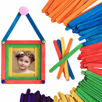 50Pcs/Lot Colored Wooden Popsicle Ice Cream Sticks 1