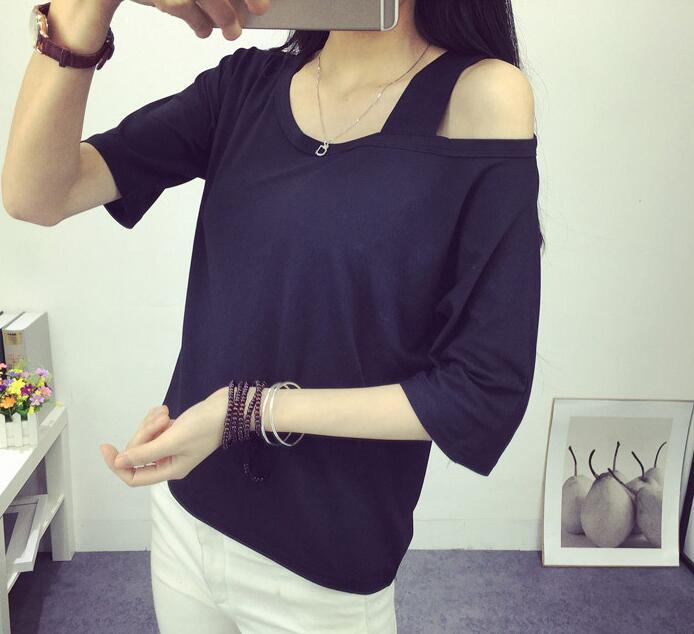 2018 Summer Custom Logo Photo Print Sexy Off Shoulder T shirt Women Tops Tshirts Female Camisetas Solid Loose Girl Femme T-shirt
