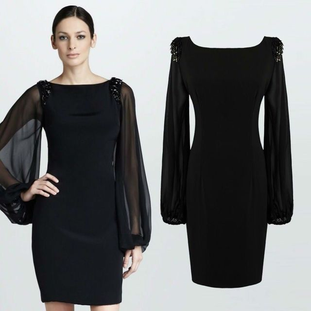 Aliexpress Com Buy Women Office Dress Long Lantern Sleeve